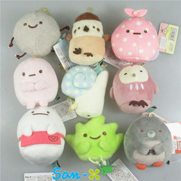 Wholesale San X Wholesale - New 9pcs Lot San-X plush pendants sumikko gurashi plush doll Keychain toys stuffed plush toy 8cm