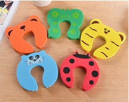Wholesale Door Jammers - 5 color New Care Child kids Baby Animal Cartoon Jammers Stop Door stopper holder lock Safety Guard Finger XT
