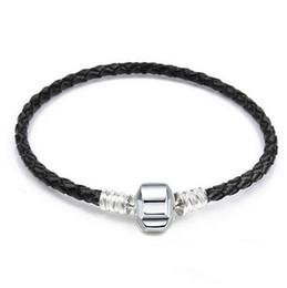 bracelet style style Promotion 30 pcs Brand New Mix Taille En Argent En Cuir Serpent Chaîne pour Big Hole Style Européen Perles fit Murano Perles Pandora DIY Bracelets Bracelets Noir 8