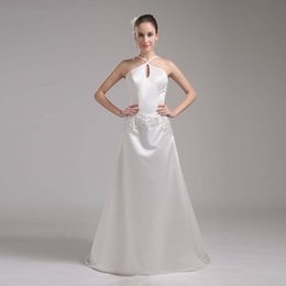 Wholesale Dropshipping Dresses - Vintage Wedding Gown A-line Satin Marriage Dress Bride Halter Design Competitive Price Good Quality Bridal Gown Dropshipping
