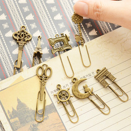Wholesale Vintage Bookings - 60 Pcs Lot Metal Bookmark Vintage Book Marker Clip Stationery Office Accessories School Supplies Marcapaginas Marque Page