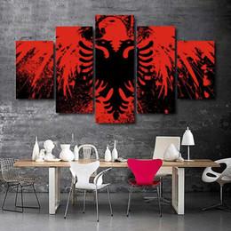 pinturas águias águias Desconto 5 piece of canvasAlbanian flag art pintura pintura arte pintura