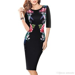 Wholesale Womens Tunic Shirt Dresses - Womens Elegant Vintage Floral Flower Printed Slimming Tunic Casual Party Pencil Sheath Bodycon Dress