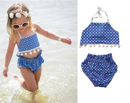 Wholesale Toddler Piece Bikini - Baby girls swimwear INS toddler kids bikini swimsuits girls polka dots pompon lace high waist swimwear bikini sets kids beach swimsuit T3580