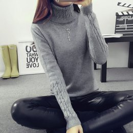 Wholesale Thick Crochet Sweater Women - 2017 Autumn Women Sweaters and Pullovers Fashion Turtleneck Sweater Women Twisted Thickening Slim Pullover Sweater