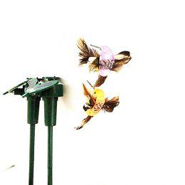 Wholesale Wholesale Solar Garden Hummingbird - New Solar or Battery Powered Fluttering Hummingbird Sunflower Butterflies Garden toys students enlightenment educational kids toys