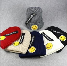 Wholesale Girls Smile Face - Fashion Women Wool Warm Hats Cute Emoji Smile Face Design Knitting Hat for Men Hip Hop Caps Casual Cartoon Beanies