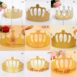 Wholesale Party Supplies Crowns - 2017 New Adjustable Paper Celebration Crown Shape Party Hat Birthday Cap Adult Kids Birthday Party Supplies