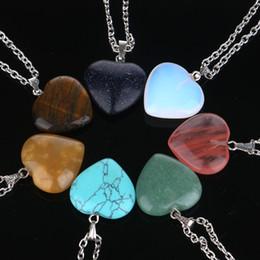 2019 joyas en forma de corazón de piedras Declaración maxi Girl Women Natural Turquoise Agate Tiger's Eye Opal Stone Colgantes en forma de corazón Collar joyería de moda 161952 joyas en forma de corazón de piedras baratos