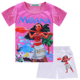 Wholesale Wholesale Sports Suits - 3color Moana Girls Clothes Sets 2017 Summer Toddler Girls Clothing Moana T-shirt+Pant Outfit Kids Girls Sport Suit Children Clothing Sets XT