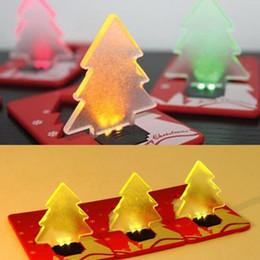 Wholesale Christmas Tree Unique - Portable Unique Design Folding Pocket Card LED Christmas Tree Night Light Lamp Bulb Novelty XMAS Gifts decor LED lights JF-495