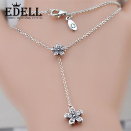 Wholesale New Mother Flowers - EDELL 2017 NEW Summer Mother's Days 100% 925 Sterling Silver Beads Charms Beloved Mother Fits For Flower Chain Necklace DIY Jewelry