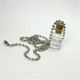 Wholesale Liquor Alcohol Bottle - 12pcs lot Emergency Vodka Necklace Vodka Liquor Alcohol Glass Bottle Necklace silver tone