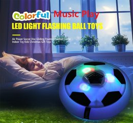 Wholesale Football Ball Games - Music Plus LED Light Flashing Hover Ball Toys Air Power Soccer Balls Disc Gliding Multi-surface Hovering Football Game Toy Kid Chidren Gift