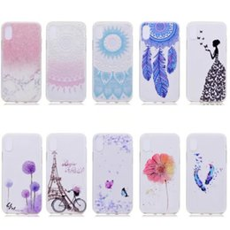 Wholesale Iphone Cover Lady - Flower Marble Soft TPU Case For Iphone X 5.8inch Rock Stone Dreamcatcher Eiffel Tower Bike Paisley Mandala Henna Sexy Lady Cover