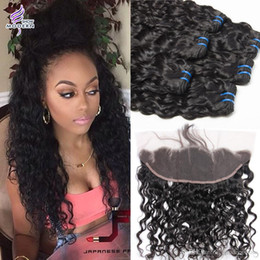Wholesale 14 Inch Brazilian Weave - Brazilian Virgin Hair Lace Frontal Closure with Bundles Brazilian Human Hair Weave Bundles Wet and Wavy Water Wave 3 Bundles with Closure