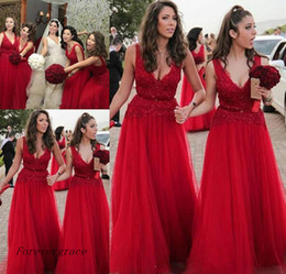 Wholesale Custom Stocks - 2017 In Stock Red Long Bridesmaid Dress V Neck Summer Country Garden Wedding Party Guest Maid of Honor Gown Plus Size Custom Made