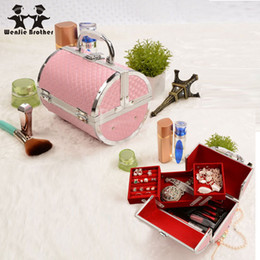 Wholesale Box Brother - Wholesale- wenjie brother pillow design Aluminium alloy Make up Box Makeup Case Beauty Case Cosmetic Bag Multi Tiers Lockable Jewelry Box