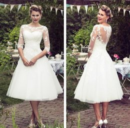 Wholesale Cheap Elegant Dresses Sleeves - NEW Vintage Lace Wedding Dress 2017 A Line Ankle Length Ivory Tulle Elegant Scoop Neck Half Sleeve Cheap Bridal Gown With Appliques