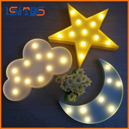 Wholesale Emergency Sign - Lovely Cloud Light 3D Star Moon Night Light LED Cute Marquee Sign For Baby Children Bedroom Decor Kids Gift Toy
