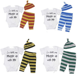 """Wholesale Three Years Girls Clothes - INS """"Will u muggle up with me"""" 3PCS Bodysuit+Stripe Pants+Hat Outfits Clothes Sets 0-18M New Year Baby Clothing Set Newborn Baby Boys Girls"""