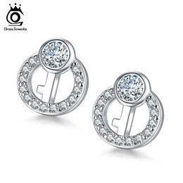 Wholesale Sterling Silver Key Earrings - New 925 Sterling Silver Women Small Earrings Fashion Key Design Luxury Crystal Stud Earrings Wholesale SE09