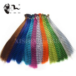 Wholesale grizzly long - Wholesale- Wholesale 100pcs High Quality Fashion Grizzly Feather Hair Extension 14-16inch Long Straight Hair Piece with Free Beads