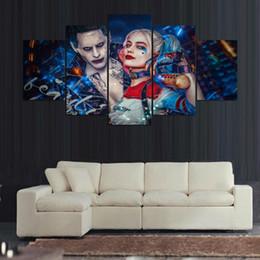pittura nera rossa fatta a mano Sconti Suicide Squad Il Joker e Harley Quinn Jared Leto e Margot Robbie suicidio squadra art Illustrated Giclee Prints Home Decor (No Frame)