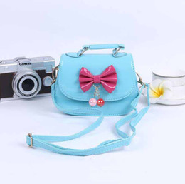 Wholesale Dual Use Bag - Girls Kids Handbags With Bowknot Children Girl Bags Child Accessories New Arrival Korea Colorful Kid Bag Fashion Cute Dual Use Girls Handbag