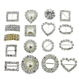 Wholesale Diamond Invitation - Wholesale-10 pcs   Pack Stunning Diamond Square HeartRound Pearl Rhinestone Buckle Ribbon Slide Diamante Buckle invitation accessories