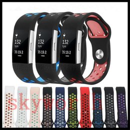 Wholesale Wristband Sports - For Fitbit Charge 2 Blaze Strap Bands Breathable Sport NK Silicone More Hole Series Straps Band Dual Colors Bracelets 11 Colors
