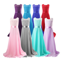 Wholesale Wedding Dresses Big Girls - Big Girls Lace Chiffon Bridesmaid Dress Party Gown Maxi Dresses sheeveless floor length