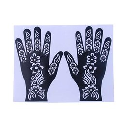 Wholesale Tattoo Kits For Women - Wholesale- India Henna Temporary Tattoo Stencils For Women Hand Leg Arm Feet Body Art Decal 2017 New
