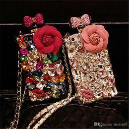Wholesale Iphone 5s Rhinestone Cases - For iphone 5 5s se 6 6s 7 8 plus Diamond Crystal Rhinestone Flower Lanyard Perfume Bottle Case Cover