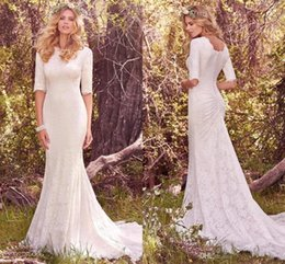 Wholesale Gorgeous Wedding Jewelry - New Gorgeous Full Lace Vintage Wedding Dresses Jewelry Neckline Half sleeve Pleats Mermaid Sweep Train Western Country Bridal Gowns Cheap