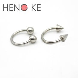 Wholesale Spiked Piercing - Horseshoe Ring 16G Lip Circular Barbell Nose Hoops Septum Nipple Tragus Piercing 4mm ball Spike 316L Stainless Steel Earrings