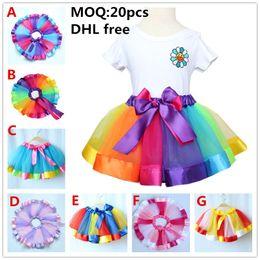 Wholesale Dance Blouses - 2017 DHL FREE New style ribbon tutu skirt baby girls rainbow tutus princess dance skirt birthday gift for girls pettiskirt rainbow dress