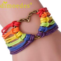 banderas de orgullo al por mayor Rebajas Al por mayor-CharmDemon Rainbow Flag Pride LGBT Charm Heart Pulsera trenzada Gay Lesbian Love Pulseras at9