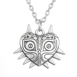 Wholesale Legend Zelda Jewelry - comejewelry Majora Mask Pewter Legend of Zelda Luck Pendant Necklace Pagan Wiccan Jewelry Heart Rope or Link Necklace for Female
