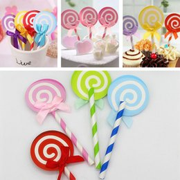topper picks for cupcakes Coupons - Wholesale- 6PCS Cute Lollipop Party cupcake toppers picks decoration for Kids Birthday party Cake favors Decoration supplies
