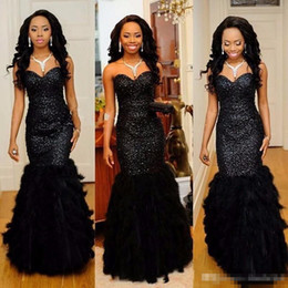 Wholesale Luxurious One Shoulder Dress - 2017 New Prom Dress Sexy Off Shoulder Black Mermaid Beading Evening Party Gowns With Sparkly Beading Huge Feather Luxurious Hot