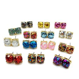 Wholesale Earring Studs Square - Hot Selling Druzy Earrings Gold Plating Popular Square Gemstone Stone Stud Earrings for Lady