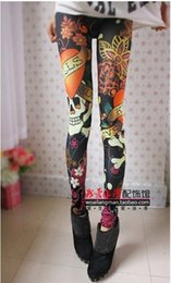 Wholesale Tattooed Leggings - Wholesale- East Knitting A46 Women Vintage skull clothes stretchy skeleton printed tattoo Skinny Jeans Leggings