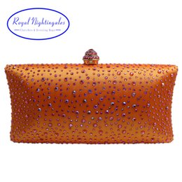 Wholesale Gold Bags For Prom - Wholesale 2017 Hot Large Capacity Hard Case Box Crystal Evening Bags and Clutches for Party Prom Evening Day Black Gold Orange