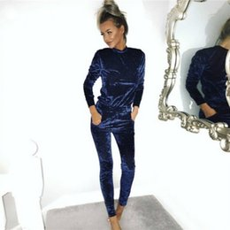 Wholesale Women Sexy Pants Bodysuit - Toplook Velvet Tracksuit Two Piece Set Women Sexy Pink Long Sleeve Top And Pants Bodysuit Suit Runway Fashion Trainingspak