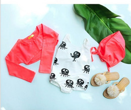 Wholesale Swimsuit Top Cute - Children swimsuits 2017 new girls cute small octopus siamese swimsuit + long sleeve tops + hat 3pcs sets kids spa beach swimwear T1580