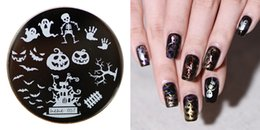 Wholesale Nail Stamp Halloween - Wholesale- 2016 Hot Sale Stamping Plate hehe57 Halloween Horrible Pumpkin Skull Ghost Bats Nail Art Stamp Template Image Transfer Stamp 5.6