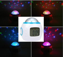 Wholesale Calendars Music - multi-function Colorful Music Starry Star Sky Projection projector with date Alarm Clock Calendar Thermometer alarm clock Christmas gift