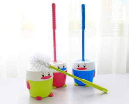 Wholesale Plastic Scrubbers - 1PC Penguin toilet special brush with base PriceStar Portable Toilet Brush Scrubber V-type Cleaner Clean Brush O0075