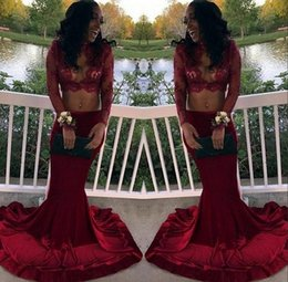 Wholesale Vintage Sequin Tops - Burgundy Two Pieces Arabic Prom Dress 2017 Beaded Long Sleeve Sexy Keyhole Neck Crop Top Lace African Black Girls Formal Evening Gowns